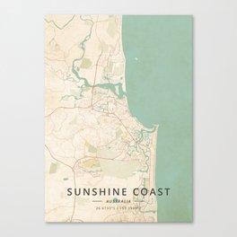 Sunshine Coast, Australia - Vintage Map Canvas Print