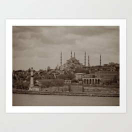 """Sultan Ahmed Mosque (""""Blue Mosque"""", Istanbul, TURKEY) from Bosphorus Strait Art Print"""
