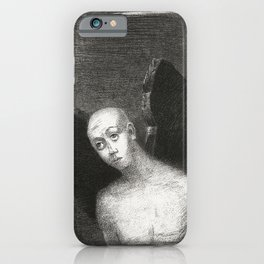 French painter Odilon Redon, Fallen Angel Spreads His Black Wings. Fine art for art lovers. iPhone Case