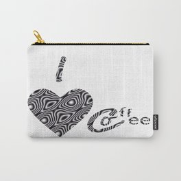 I Love Coffee Black & White Carry-All Pouch