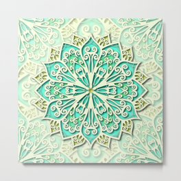 White cyan and yellow Beautiful Wedding Mandala Metal Print