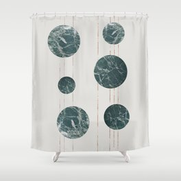 Marble Circles with Golden Stripes Shower Curtain