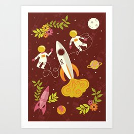 Astronauts in Space with Florals - Maroon Art Print
