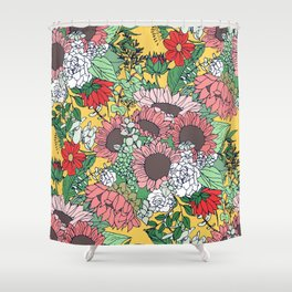 Pretty aspen gold and pink floral design Shower Curtain