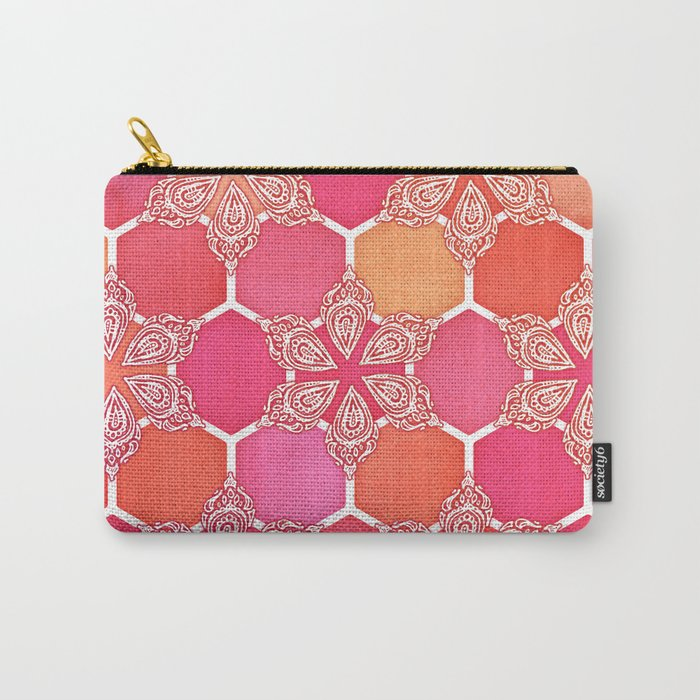 Pink Spice Honeycomb - Doodle Hexagon Pattern Carry-All Pouch