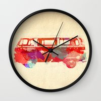 vw Wall Clocks featuring VW Van  by Stacia Elizabeth