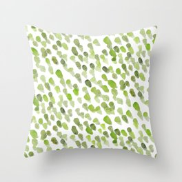 Imperfect brush strokes - olive green Throw Pillow