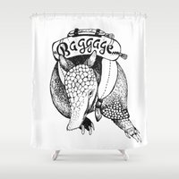 backpack Shower Curtains featuring Baggage Armadillo by Nat Osorio