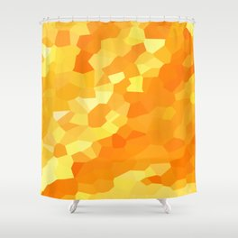 Polygonal Yellow and Orange Stained Glass Mosaic Shower Curtain