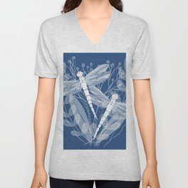 Dragonflies in White Field Unisex V-Neck