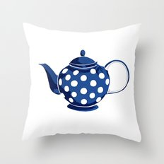 Blue Polka-Dot Teapot Throw Pillow