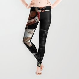 Mama Said I'm Gonna Knock You Out - Ali Knocks out Liston B&W over Color Painting Leggings