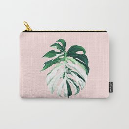 Monstera Albo Borsigiana in Pink Carry-All Pouch