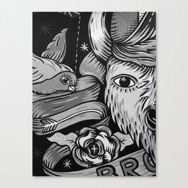 Yak and Bird Graffiti (Black and White) Canvas Print