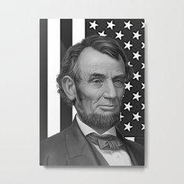 Abraham Lincoln with USA flag Background Metal Print