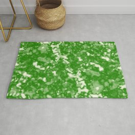 A fluttering cluster of green bodies on a light background. Rug