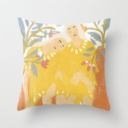Botanical Girls Throw Pillow