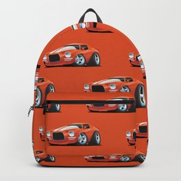 Classic Seventies Muscle Car Cartoon Backpack