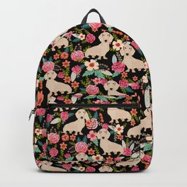 Doxie Florals - vintage doxie and florals gift gifts for dog lovers, dachshund decor, cream doxie Backpack
