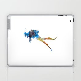 Man scuba diver 01 in watercolor Laptop & iPad Skin