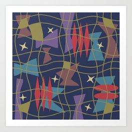 Mid Century Modern Abstract Pattern 582 Art Print