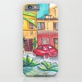 red vintage car in Rome Trastevere Italy iPhone Case