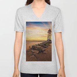 Lighthouse Sunset Wales Unisex V-Neck