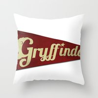 gryffindor Throw Pillows featuring Gryffindor 1948 Vintage Pennant by Andy Pitts
