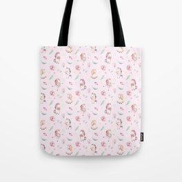 Blush pink green magenta watercolor magical unicorn floral Tote Bag