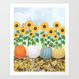 chipmunk, red breasted nuthatches, heirloom pumpkins, & sunflowers Art Print