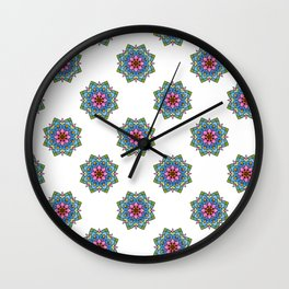 Colourful Botanical Mandala Wall Clock