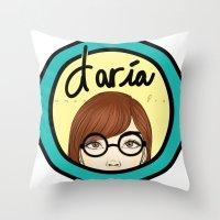 daria Throw Pillows featuring Daria by Emmanuella Draws