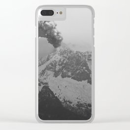 Volcano black and white Clear iPhone Case