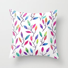 Leafy Twigs - Bright Throw Pillow
