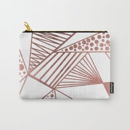 Geometrical modern faux rose gold abstract shapes Carry-All Pouch
