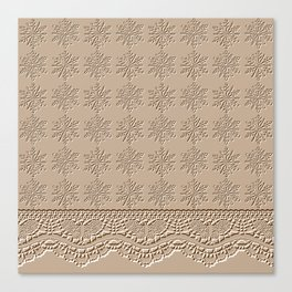 Lace and Stars in Coffee Color Chenille Pattern Canvas Print