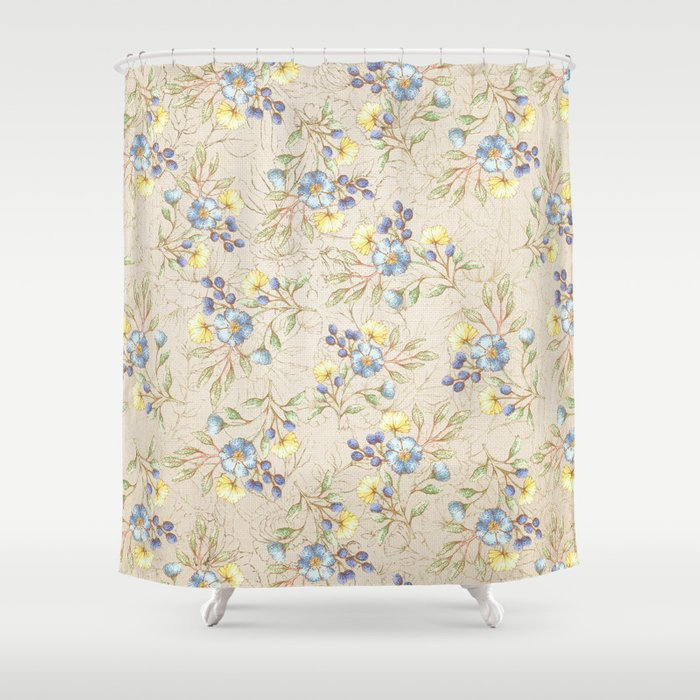 Vintage Ivory Linen Blue Yellow Gold Floral Pattern Shower Curtain