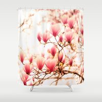 cherry blossoms Shower Curtains featuring Cherry Blossoms by Vivienne Gucwa
