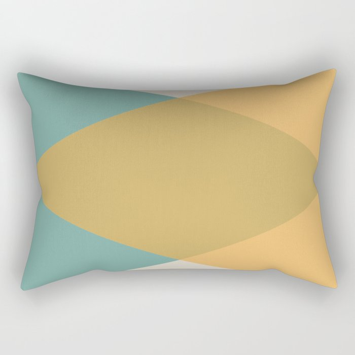 Mid Century - Yellow and Blue Rectangular Pillow