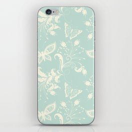 Butterfly And Floral White Light Blue Background iPhone Skin