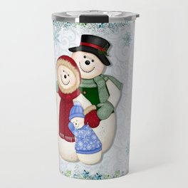 Snowman and Family Glittered Travel Mug