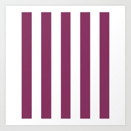 Boysenberry violet - solid color - white vertical lines pattern Art Print