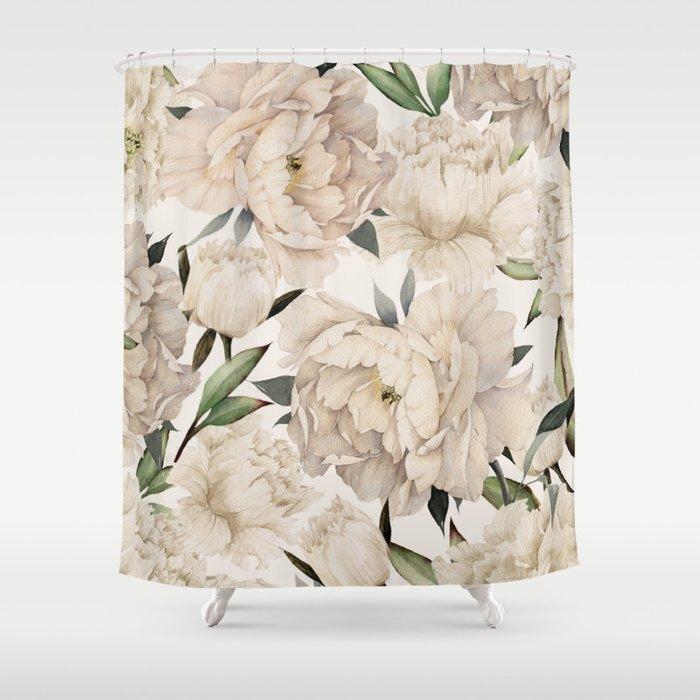 Peonies Pattern Shower Curtain By Nadja1