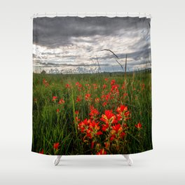 Brighten the Day - Indian Paintbrush Wildflowers in Eastern Oklahoma Shower Curtain