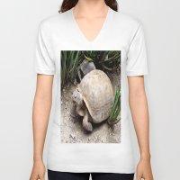 tortoise V-neck T-shirts featuring Tortoise by lennyfdzz