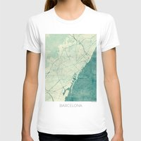 vintage map T-shirts featuring Barcelona Map Blue Vintage by City Art Posters