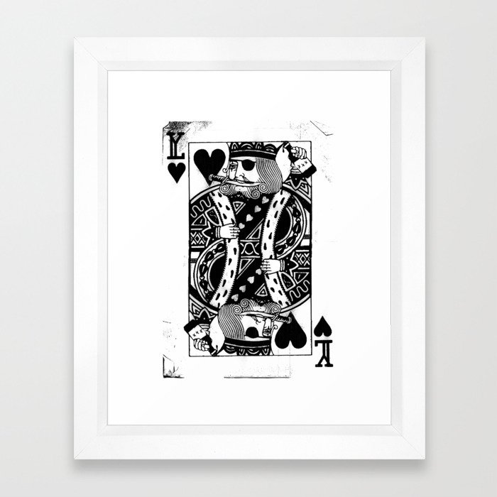 Pirate King of Hearts - Playing Card Art Poster Framed Art Print by ...