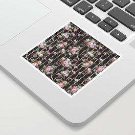 Elegant faux rose gold black stripes vintage blush pink lavender floral Sticker