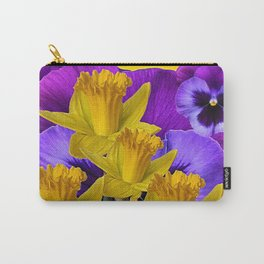 YELLOW DAFFODILS AGAINST PURPLE PANSIES Carry-All Pouch