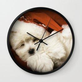 Sleepy Santa Puppy Wall Clock